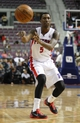 Oct 8, 2013; Auburn Hills, MI, USA; Detroit Pistons guard Kentavious Caldwell-Pope (5) passes the ball during the third quarter against Haifa at The Palace of Auburn Hills. Mandatory Credit: Raj Mehta-USA TODAY Sports
