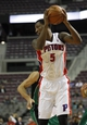 Oct 8, 2013; Auburn Hills, MI, USA; Detroit Pistons guard Kentavious Caldwell-Pope (5) holds the ball during the third quarter against Haifa at The Palace of Auburn Hills. Mandatory Credit: Raj Mehta-USA TODAY Sports