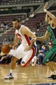 Oct 8, 2013; Auburn Hills, MI, USA; Detroit Pistons center Josh Harrellson (55) drives the ball down the court against Haifa during the fourth quarter at The Palace of Auburn Hills. Pistons beat Haifa 91-69. Mandatory Credit: Raj Mehta-USA TODAY Sports