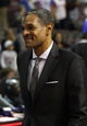 Oct 8, 2013; Auburn Hills, MI, USA; Detroit Pistons head coach Maurice Cheeks smiles after winning against Haifa at The Palace of Auburn Hills. Pistons beat Haifa 91-69. Mandatory Credit: Raj Mehta-USA TODAY Sports