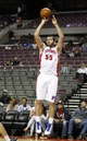 Oct 8, 2013; Auburn Hills, MI, USA; Detroit Pistons center Josh Harrellson (55) takes a jump shot during the fourth quarter against Haifa at The Palace of Auburn Hills. Pistons beat Haifa 91-69. Mandatory Credit: Raj Mehta-USA TODAY Sports