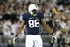 Sep 14, 2013; University Park, PA, USA; Penn State Nittany Lions defensive end C.J. Olaniyan (86) during the fourth quarter against the Central Florida Knights at Beaver Stadium. Mandatory Credit: Matthew O'Haren-USA TODAY Sports