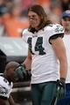 Sep 29, 2013; Denver, CO, USA; Philadelphia Eagles wide receiver Riley Cooper (14) during the game against the Denver Broncos at Sports Authority Field at Mile High. Mandatory Credit: Ron Chenoy-USA TODAY Sports