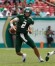 Sep 28, 2013; Tampa, FL, USA; South Florida Bulls quarterback Steven Bench (2) runs with the ball during the second half against the Miami Hurricanes at Raymond James Stadium. Miami Hurricanes defeated the South Florida Bulls 49-21. Mandatory Credit: Kim Klement-USA TODAY Sports