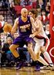 Oct 9, 2013; Portland, OR, USA; Phoenix Suns center Marcin Gortat (4) posts up against Portland Trail Blazers center Robin Lopez (42) at the Moda Center. Mandatory Credit: Craig Mitchelldyer-USA TODAY Sports