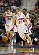 Oct 10, 2013; Auburn Hills, MI, USA; Detroit Pistons shooting guard Kyle Singler (25) dribbles the ball up the floor during the fourth quarter against the Miami Heat at The Palace of Auburn Hills. Heat beat the Pistons 112-107. Mandatory Credit: Raj Mehta-USA TODAY Sports