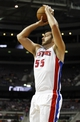 Oct 10, 2013; Auburn Hills, MI, USA; Detroit Pistons power forward Josh Harrellson (55) takes a shot during the fourth quarter against the Miami Heat at The Palace of Auburn Hills. Heat beat the Pistons 112-107. Mandatory Credit: Raj Mehta-USA TODAY Sports