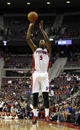 Oct 10, 2013; Auburn Hills, MI, USA; Detroit Pistons shooting guard Kentavious Caldwell-Pope (5) takes a jump shot during the fourth quarter against the Miami Heat at The Palace of Auburn Hills. Heat beat the Pistons 112-107. Mandatory Credit: Raj Mehta-USA TODAY Sports