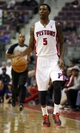 Oct 10, 2013; Auburn Hills, MI, USA; Detroit Pistons shooting guard Kentavious Caldwell-Pope (5) bring the ball up the floor during the fourth quarter against the Miami Heat at The Palace of Auburn Hills. Heat beat the Pistons 112-107. Mandatory Credit: Raj Mehta-USA TODAY Sports