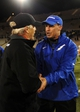 Oct 10, 2013; Colorado Springs, CO, USA; Air Force Falcons head coach Troy Calhoun and San Diego State Aztecs head coach Rocky Long great each other following the game at Falcon Stadium. The Aztecs defeated the Falcons 27-20. Mandatory Credit: Ron Chenoy-USA TODAY Sports
