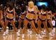 Oct 10, 2013; Las Vegas, NV, USA; The Laker Girls entertain the crowd during a stoppage in play of an NBA preseason game between the Los Angeles Lakers and the Sacramento Kings at MGM Grand Arena. The Kings won the game 104-86. Mandatory Credit: Stephen R. Sylvanie-USA TODAY Sports