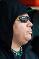 Oct 7, 2013; Detroit, MI, USA; Oakland Athletics starting pitcher Bartolo Colon (40) in the dugout against the Detroit Tigers in game three of the American League divisional series playoff baseball game at Comerica Park. Mandatory Credit: Rick Osentoski-USA TODAY Sports