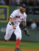 Oct 5, 2013; Boston, MA, USA; Boston Red Sox first baseman Mike Napoli (12) makes a putout at first base during the ninth inning in game two of the American League divisional series playoff baseball game against the Tampa Bay Rays at Fenway Park. Mandatory Credit: Bob DeChiara-USA TODAY Sports