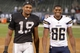 Oct 6, 2013; Oakland, CA, USA; Oakland Raiders receiver Brice Butler (19) and San Diego Chargers receiver Vincent Brown (86) after the game at O.co Coliseum. The Raiders defeated the Chargers 27-17. Mandatory Credit: Kirby Lee-USA TODAY Sports