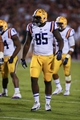 Oct 5, 2013; Starkville, MS, USA; LSU Tigers tight end Dillon Gordon (85) during the game against the Mississippi State Bulldogs at Davis Wade Stadium.  LSU Tigers defeated the Mississippi State Bulldogs 59-26.  Mandatory Credit: Spruce Derden-USA TODAY Sports