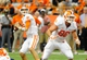 Oct 5, 2013; Syracuse, NY, USA; Clemson Tigers quarterback Cole Stoudt (left) drops back to pass during the fourth quarter against the Syracuse Orange at the Carrier Dome.  Clemson defeated Syracuse 49-14.  Mandatory Credit: Rich Barnes-USA TODAY Sports