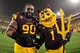 Sep 5, 2013; Tempe, AZ, USA; Arizona State Sun Devils defensive tackle Will Sutton (90) and mascot Sparky  during the game against the Sacramento State Hornets at Sun Devil Stadium. Mandatory Credit: Matt Kartozian-USA TODAY Sports