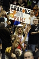 Oct 11, 2013; Kansas City, MO, USA; A Miami Heat fan cheers for LeBron James (not pictured) against the Charlotte Bobcats in the second half at Sprint Center. Miami won 86-75. Mandatory Credit: John Rieger-USA TODAY Sports