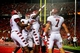 Oct 11, 2013; Cincinnati, OH, USA; Temple Owls players celebrate a touchdown during the second quarter against the Cincinnati Bearcats at Nippert Stadium. Mandatory Credit: Andrew Weber-USA TODAY Sports