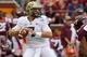 Oct 12, 2013; Blacksburg, VA, USA; Pittsburgh Panthers quarterback Tom Savage (7) drops back to pass during the second quarter against the Virginia Tech Hokies at Lane Stadium. Mandatory Credit: Jeremy Brevard-USA TODAY Sports