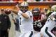 Oct 12, 2013; Blacksburg, VA, USA;  Pittsburgh Panthers quarterback Tom Savage (7) looks to pass the ball during the second quarter against the Virginia Tech Hokies at Lane Stadium. Mandatory Credit: Jeremy Brevard-USA TODAY Sports