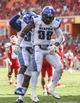 Oct 12, 2013; Houston, TX, USA; Memphis Tigers defensive back Reggis Ball (39) and Bakari Hollier (37) celebrate after a defensive play during the second quarter against the Houston Cougars at BBVA Compass Stadium. Mandatory Credit: Troy Taormina-USA TODAY Sports