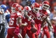 Oct 12, 2013; Houston, TX, USA; Houston Cougars linebacker Steven Taylor (41) is congratulated by teammates after recovering a fumble during the second quarter against the Memphis Tigers at BBVA Compass Stadium. Mandatory Credit: Troy Taormina-USA TODAY Sports