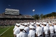 Oct 12, 2013; West Point, NY, USA; The second regiment of the Corps of Cadets salute during the national anthem before the game between Army and Eastern Michigan at Michie Stadium. Mandatory Credit: Danny Wild-USA TODAY Sports