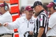 Oct 12, 2013; Blacksburg, VA, USA; Virginia Tech Hokies head coach Frank Beamer talks with an official during the fourth quarter against the Pittsburgh Panthers at Lane Stadium. The Hokies defeated Pitt 19-9. Mandatory Credit: Jeremy Brevard-USA TODAY Sports