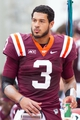 Oct 12, 2013; Blacksburg, VA, USA; Virginia Tech Hokies quarterback Logan Thomas (3) stands on the sidelines during the fourth quarter during the game against the Pittsburgh Panthers at Lane Stadium. The Hokies defeated Pitt 19-9. Mandatory Credit: Jeremy Brevard-USA TODAY Sports