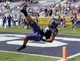 Oct 12, 2013; Fort Worth, TX, USA; TCU Horned Frogs receiver Cameron Echols-Luper (15) attempts to catch a pass against the Kansas Jayhawks at Amon G. Carter Stadium. TCU defeated Kansas 27-17. Mandatory Credit: Kirby Lee-USA TODAY Sports