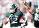 Oct 12, 2013; East Lansing, MI, USA; Michigan State Spartans running back R.J. Shelton (12) runs for a touchdown against Indiana Hoosiers during the second half in a game at Spartan Stadium. MSU won 42-28. Mandatory Credit: Mike Carter-USA TODAY Sports
