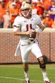 Oct 12, 2013; Clemson, SC, USA; Boston College Eagles quarterback Chase Rettig (11) looks to throw the ball during the first quarter against the Clemson Tigers at Clemson Memorial Stadium. Mandatory Credit: Joshua S. Kelly-USA TODAY Sports