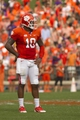 Oct 12, 2013; Clemson, SC, USA; Clemson Tigers quarterback Tajh Boyd (10) prior to the play during the second quarter against the Boston College Eagles at Clemson Memorial Stadium. Mandatory Credit: Joshua S. Kelly-USA TODAY Sports