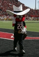 Oct 12, 2013; Lubbock, TX, USA; The Texas Tech Red Raiders mascot on the field during the game with the Iowa State Cyclones at Jones AT&T Stadium. Mandatory Credit: Michael C. Johnson-USA TODAY Sports
