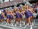 Oct 12, 2013; Fort Worth, TX, USA; TCU Horned Frog showgirls cheerleaders perform backflips during the game against the Kansas Jayhawks at Amon G. Carter Stadium.  Mandatory Credit: Kirby Lee-USA TODAY Sports