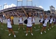 Oct 12, 2013; Fort Worth, TX, USA; TCU Horned Frogs cheerleaders perform during the game against the Kansas Jayhawks at Amon G. Carter Stadium.  Mandatory Credit: Kirby Lee-USA TODAY Sports