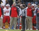 Oct 12, 2013; Laramie, WY, USA; Laramie, WY, USA; New Mexico Lobos head coach Bob Davie talks to an official against the Wyoming Cowboys during the fourth quarter at War Memorial Stadium. The Cowboys beat the Lobos 38-31. Mandatory Credit: Troy Babbitt-USA TODAY Sports