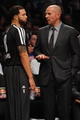 Oct 12, 2013; Brooklyn, NY, USA; Brooklyn Nets head coach Jason Kidd and Brooklyn Nets point guard Deron Williams (8) talk during the first half of the preseason game at Barclays Center. Mandatory Credit: Joe Camporeale-USA TODAY Sports