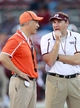 Oct 12, 2013; Starkville, MS, USA; Bowling Green Falcons head coach Dave Clawson talks with Mississippi State Bulldogs head coach Dan Mullen prior to the game at Davis Wade Stadium. Mandatory Credit: Marvin Gentry-USA TODAY Sports