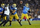 October 12, 2013; Pasadena, CA, USA; UCLA Bruins quarterback Brett Hundley (17) throws a  pass against the California Golden Bears during the first half at the Rose Bowl. Mandatory Credit: Gary A. Vasquez-USA TODAY Sports