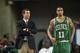 Oct 11, 2013; Newark, DE, USA; Boston Celtics head coach Brad Stevens talks with guard guard Courtney Lee (11) during the fourth quarter against the Philadelphia 76ers at Bob Carpenter Sports Convocation Center. The Sixers defeated the Celtics 97-85. Mandatory Credit: Howard Smith-USA TODAY Sports