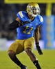 October 12, 2013; Pasadena, CA, USA; UCLA Bruins linebacker Anthony Barr (11) defends against the California Golden Bears during the second half at the Rose Bowl. Mandatory Credit: Gary A. Vasquez-USA TODAY Sports
