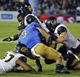 Oct 12, 2013; Pasadena, CA, USA; California Golden Bears defensive back Damariay Drew (27) has his helmet knocked off after colliding with UCLA Bruins wide receiver Darius Bell(3) during third quarter action at Rose Bowl. UCLA went on to a 36-10 win. Mandatory Credit: Robert Hanashiro-USA TODAY Sports