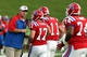 Sep 12, 2013; Ruston, LA, USA; Louisiana Tech Bulldogs head coach Skip Holtz talks to his players during their game against the Tulane Green Wave at Joe Aillet Stadium. Mandatory Credit: Chuck Cook-USA TODAY Sports