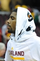 Oct 8, 2013; Cleveland, OH, USA; Cleveland Cavaliers point guard Kyrie Irving after a game against the Milwaukee Bucks at Quicken Loans Arena. Cleveland won 99-87. Mandatory Credit: David Richard-USA TODAY Sports