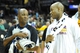 Oct 8, 2013; Cleveland Cavaliers point guard Jarrett Jack (right) talks with referee C.J. Washington after a game against the Milwaukee Bucks at Quicken Loans Arena. Cleveland won 99-87. Mandatory Credit: David Richard-USA TODAY Sports