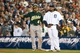 Oct 8, 2013; Detroit, MI, USA; Oakland Athletics center fielder Coco Crisp (4) and Detroit Tigers first baseman Prince Fielder (28) chat during game four of the American League divisional series at Comerica Park. Mandatory Credit: Tim Fuller-USA TODAY Sports