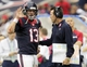 Oct 13, 2013; Houston, TX, USA; Houston Texans quarterback T.J. Yates (13) talks to head coach Gary Kubiak after throwing his second interception against the St. Louis Rams during the second half at Reliant Stadium. The Rams won 38-13. Mandatory Credit: Thomas Campbell-USA TODAY Sports
