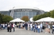 Oct 13, 2013; Arlington, TX, USA; Fans enter AT&T Stadium prior to the game with the Dallas Cowboys playing against the Washington Redskins at AT&T Stadium. Mandatory Credit: Matthew Emmons-USA TODAY Sports